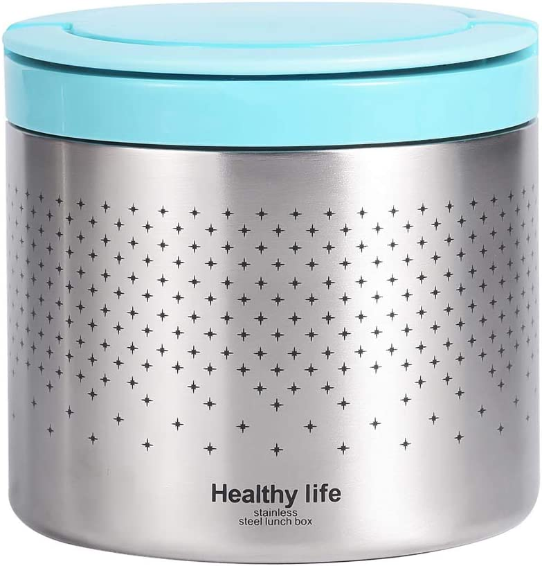 Vacuum Insulated Thermos Food Jar 34 Ounce Lunch Thermos with Handles, Portable Stainless Steel Lunch Box Containers Stay Hot for 5h Cold for 10h, Blue