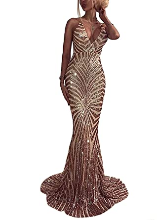 15871384c6 Ohvera Women's Spaghetti Strap Sequined V Neck Party Cocktail Evening Prom  Gown Mermaid Maxi Long Dress