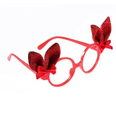 4b3462b0c1 Amazon.com  OULII Glitter Bunny Ears Funny Sunglasses Kids Easter Bunny  Costume Accessory Party Favor Props (Red)  Clothing