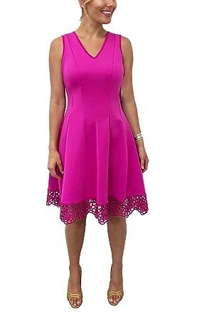 0185cb0403d1 Donna Ricco Women s V-Neck Crochet Hem Fit and Flare Dress