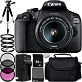 "Canon EOS 1500D/Rebel T7 w/ 18-55mm Lens and 8pc Accessory Bundle – Includes 16GB SD Memory Card + Replacement Battery + 57"" Tripod + Medium Carrying Case + More - International Version (No Warranty)"