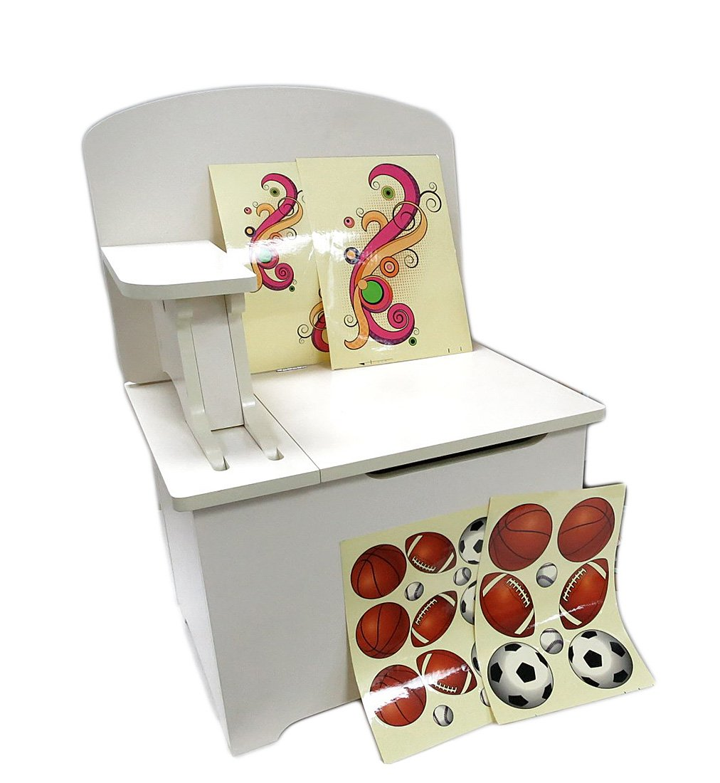 Zeckos Fiberboard Childrens Chests Chest R Desk Children's 3 in 1 Wooden Desk Chair Chest Storage Unit 27 X 20 X 15 Inches White