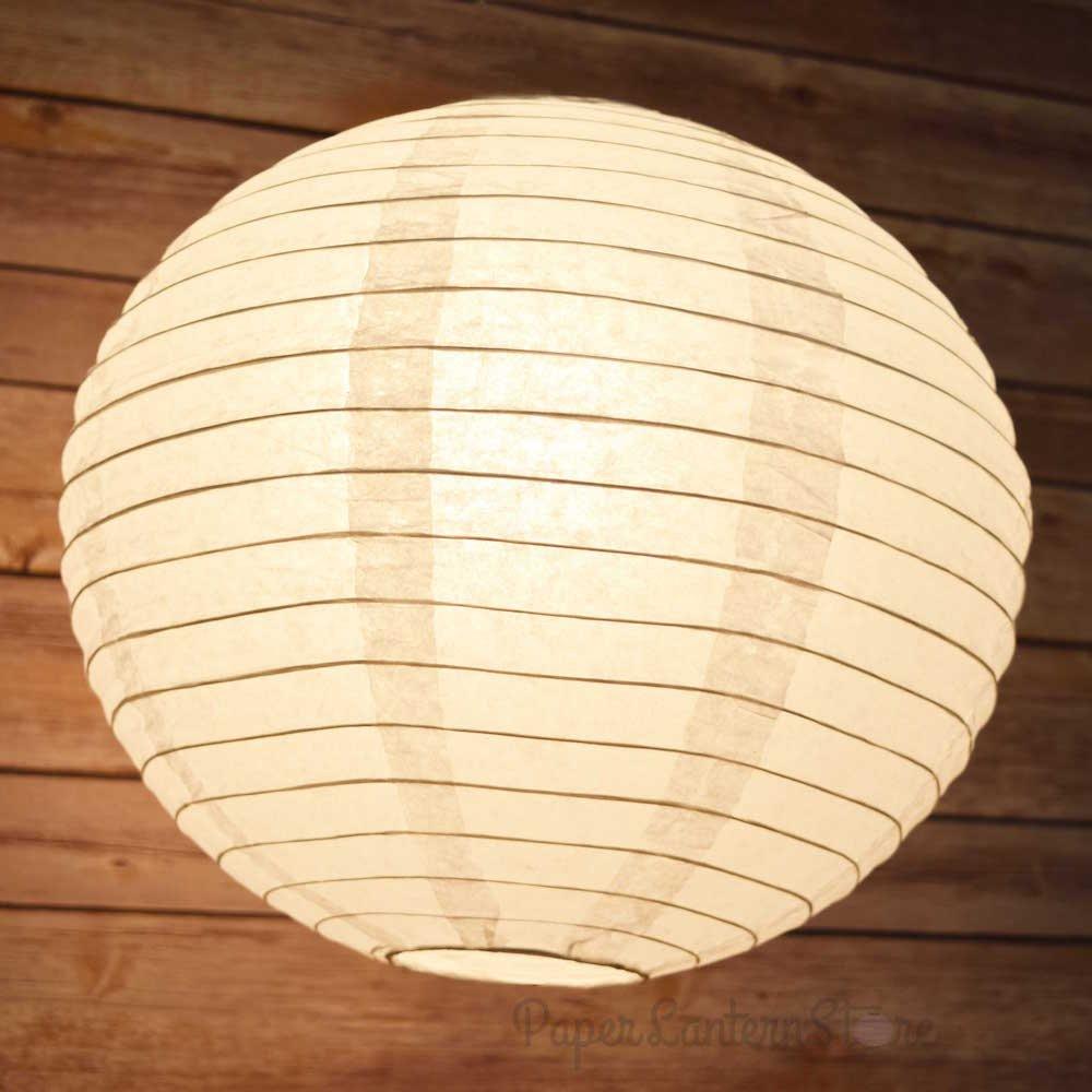 PaperLanternStore.com BULK CASE 14'' White Round Even Ribbing Paper Lantern (1,000 Pieces)