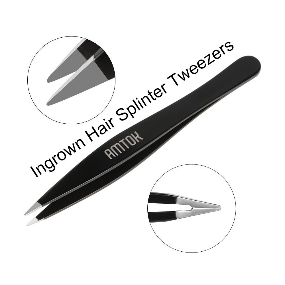 AMTOK Eyebrows Tweezers Kit Professional Plucking Tools Kit Stainless Steel,Flat,Slant and Pointed Tip Tweezers (Black)