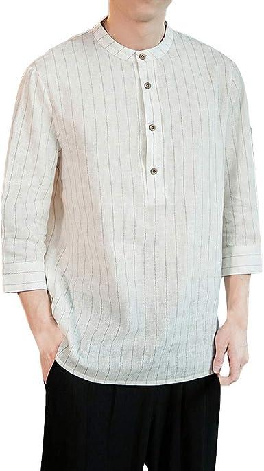 Xmiral - Camisa para Hombre, Lino y algodón, diseño de Cuadros, Color Puro y Manga Corta Blanco S: Amazon.es: Ropa y accesorios