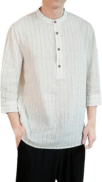 Xmiral - Camisa para Hombre, Lino y algodón, diseño de Cuadros ...
