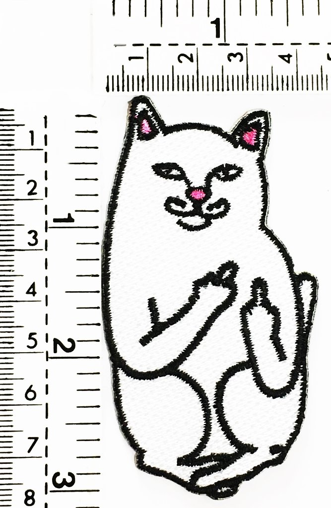 white cat cartoon fuck you smile cat joke funny kids cartoon patch Applique for Clothes Great as happy birthday gift RAT FAT 4337011019