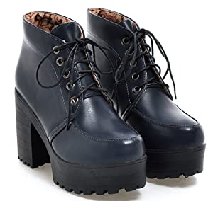 IDIFU Women's Fall Lace Up Chunky Platform Martin Ankle Boots Blue 9 B(M) US