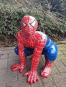 Spiderman rojo de figura decorativa azul acurrucado Publicidad Figura