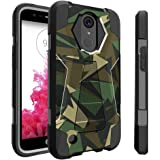 LG K20| K 20 Plus black Case| LG Grace | K10 (2017) Case | LG V5 [Traveler Series] Shell Defender with Built in Kickstand| Two Piece Hybrid Case by Untouchble - Green Camo