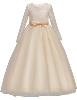 0da3e0eb5c506 DOCHEER Fancy Girls Dress Tulle Lace Wedding Bridesmaid Ball Gown Floor Length  Dresses for 4-