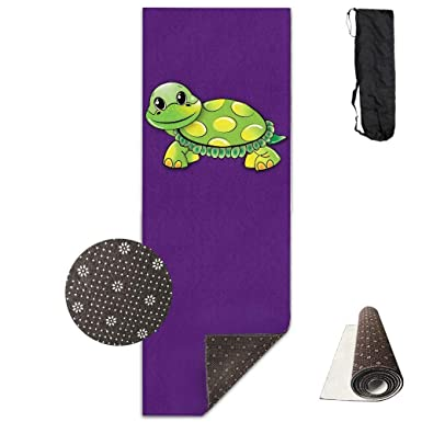 Amazon.com: Workout Mat for Yoga, Green Funny Turtle Printed ...