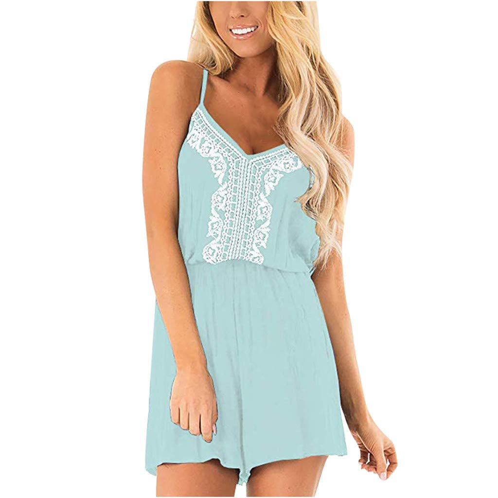 LONGDAY Women Camisole Top Vintage Retro Jumpsuit Sleeveless Vest Summer Romper Strap V-Neck Casual Shorts Drawstring Light Blue by LONGDAY-Women Jumpsuits & Pants