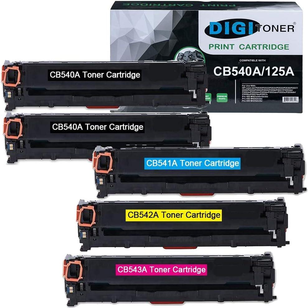 DigiToner Compatible CB540A 125A Toner Cartridge Replacement for HP 125A CB541A CB542A CB543A Cartridges for use in HP Color Laserjet CP1215 CP1515n CP1518ni CM1312nfi CM1312 Tone [5 Pack,BBCMY]