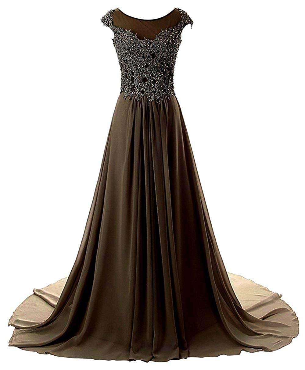 Chocolate Wanshaqin Women's Aline Lace Appliques Evening Party Cocktail Dresses Bridesmaid Gowns Prom Formal Dresses for Events Party