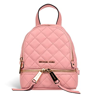 e1a7ecb96e96 MICHAEL Michael Kors Rhea Extra-Small Quilted-Leather Backpack in Pale  Pink: Amazon.co.uk: Shoes & Bags