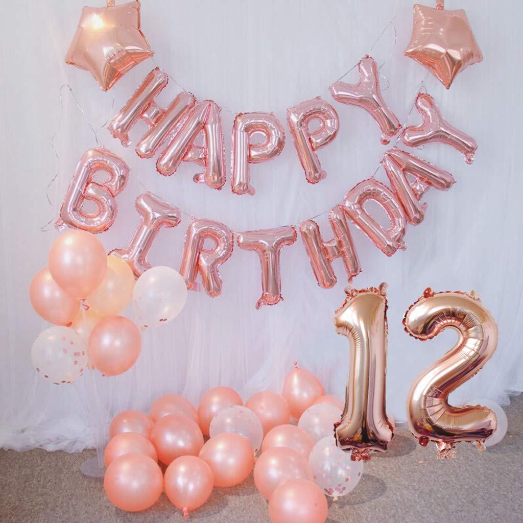 Geburtstag deko f/ür M/ädchen Jungen Happy Birthday Girlande Banner Folienballon Konfetti Luftballons Deko Geburtstag Party Anzahl Ballons 12 Oumezon 12 Geburtstag M/ädchen Dekoration Rose Gold