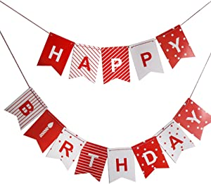 Red Happy Birthday Banner for boys, girls and adults, Colorful Party Decorations from Paper, Red and White Pennants with Letters