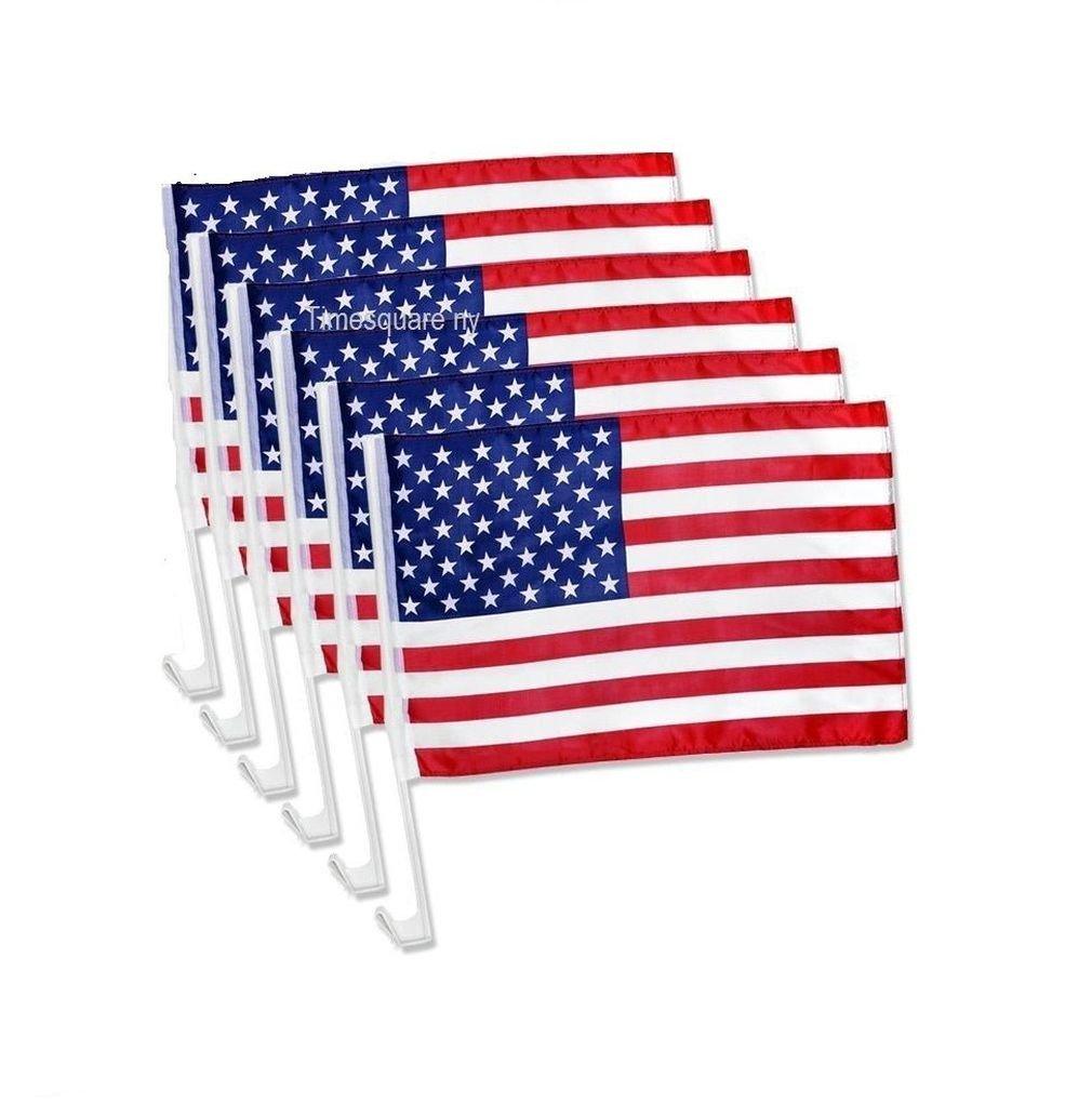 Fashion 6 pcs US American Patriotic Car Truck Window Clip USA Flag 18'' X 12''