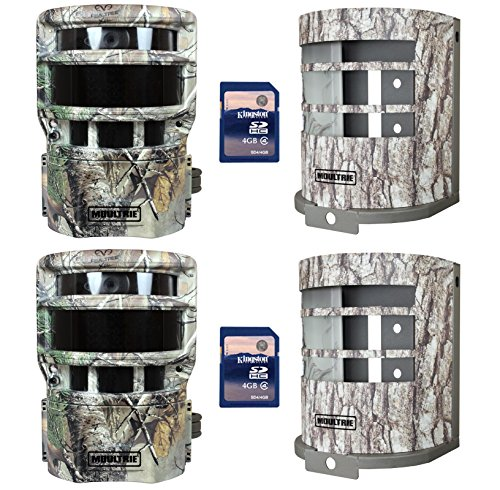 (2) MOULTRIE Panoramic P-150i Trail Game Cameras  (2) Security Boxes  SD Cards