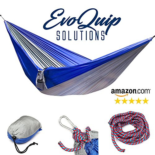 EvoQuip #1 Parachute Hammock Ultralight & Compact Includes Rope & Clips - Easy to Carry Nylon Singlenest Camping - Trip For Camping Checklist
