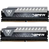 Patriot Viper Elite Series DDR4 16GB (2x8GB) 2666MHz PC4-21300 Dual Memory Kit (Black/Grey) - PVE416G266C6KGY