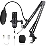 streaming microphone USB Condenser Microphone Computer PC Microphone Kit with Adjustable Scissor Arm Stand Shock Mount for In