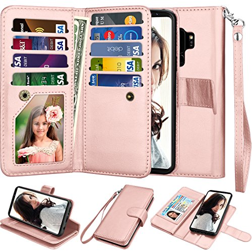 Njjex Galaxy S9 Plus Case, For S9 Plus Wallet Case, PU Leather [9 Card Slots] ID Credit Magnetic Folio Flip Cover [Detachable] [Kickstand] Phone Case & Wrist Lanyard For Samsung S9+ S9 Plus - RoseGold