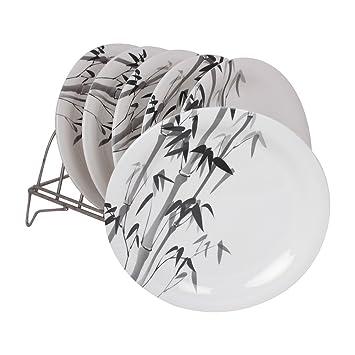 WHITE GOLD MELAMINE ROUND SHAPE DECO 8 INCH HALF QUARTER PLATE CROCKERY D009 - BAMBOO (6 Pcs)