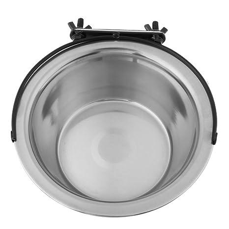 Cuenco colgante mascotas, plato para colgar de acero inoxidable con ganchos Alimentador de agua para alimentos para perros cachorro de gato(L)