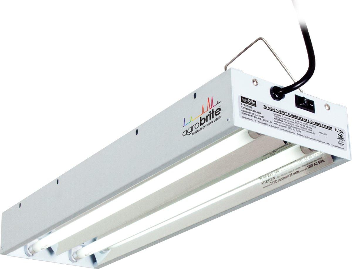 Hydrofarm Agrobrite FLT22 T5 Fluorescent Grow Light System, 2 Foot, 2 Tube