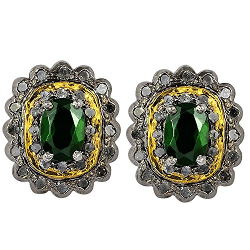 2.5 Ct Green Oval Chrome Diopside And Diamond 925 Sterling Silver Black Rhodhium Stud Earrings For Women: Nickel Free Cute And Simple Mother And Wife Birthday Gift ()