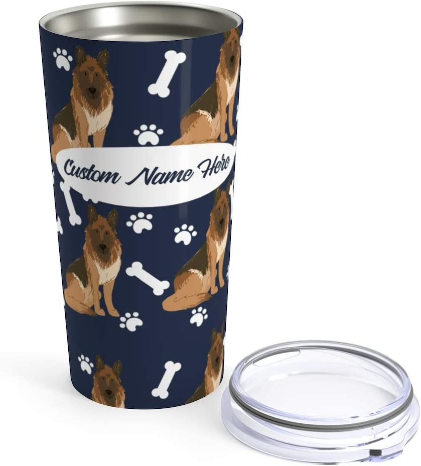 Amazon Com Custom German Shepherd 20oz Travel Mug Personalized Stainless Steel Insulated Tumbler Cup For Dog Lovers Warm Cold Drinks Coffee Beer Gifts For Men Women Kitchen Dining