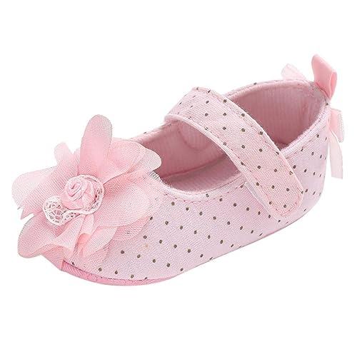 BeautyTop Scarpe da Principessa Neonata Bambina Ballerina Ragazze Suola Morbida Culla Mary Jane Basse Pantofole Fiore Scarpe da Barca Sandali Partito Formale (6-12 Mesi, Rosa)