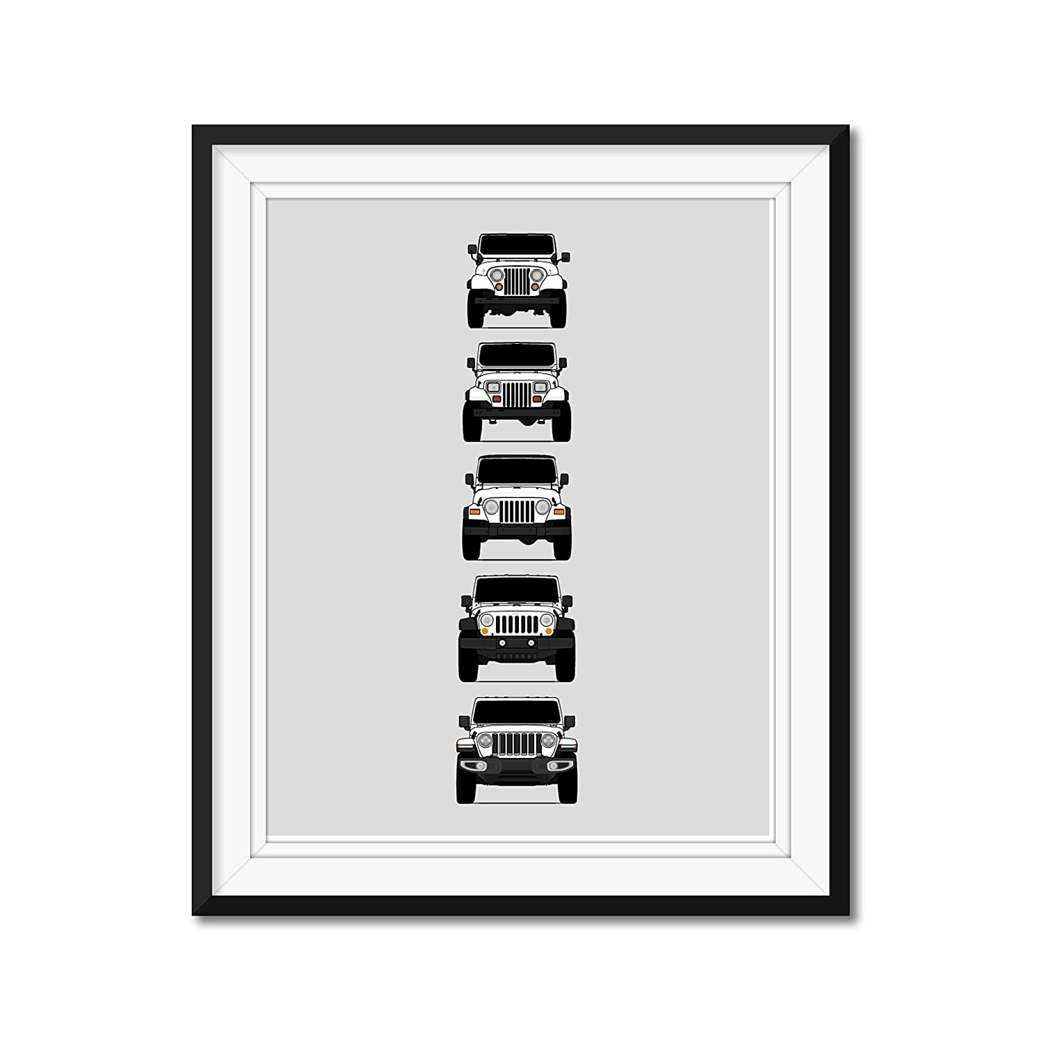 Jeep Wrangler Generations (CJ, YJ, TJ, JK, JL) Inspired Poster Print Wall Art of the History and Evolution of the Wrangler Generations