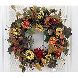 Autumn Fantasy Colorful Floral Fall Wreath 102