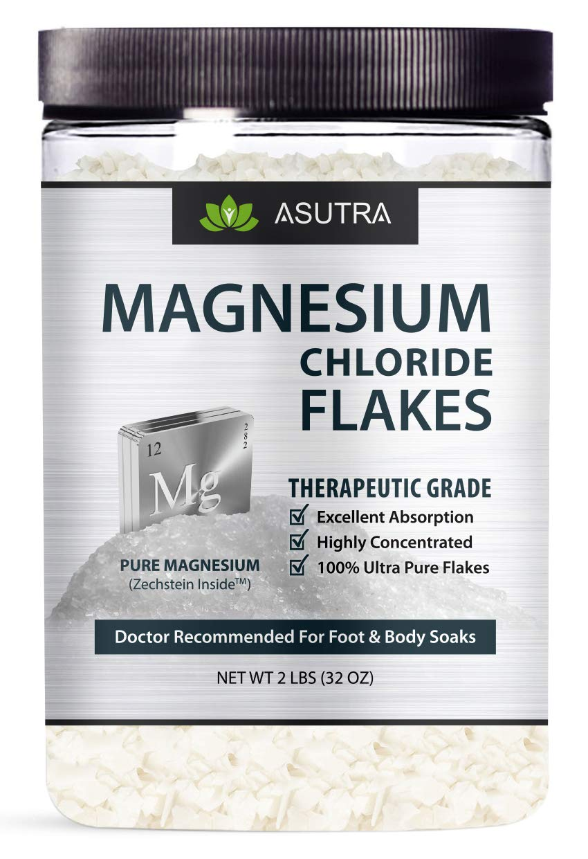 ASUTRA Pure Zechstein Magnesium Chloride Flakes - For Foot & Body Soaks + Free Magnesium E-Book (2 lbs)