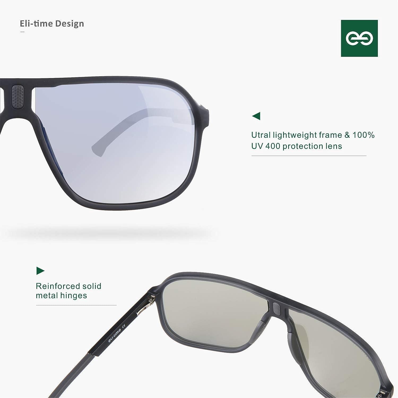 montatura opaca rettangolo moda con lenti multicolor protezione 100/% UV400 Eli-time Occhiali da sole polarizzati ultraleggeri da uomo pesca sportiva ET19014