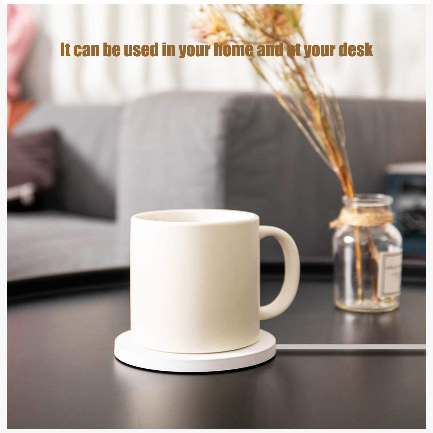 Smart warming coffee mug /& Tea Cup for Office Desk Use Black with Euro plug Electric Beverage warmer with Automatic temperature control with wireless charging