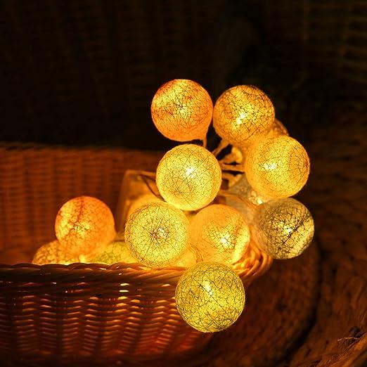 OSALADI - Guirnalda de luces de bola de algodón con 20 bombillas LED que funcionan con pilas para decoración de fiestas en el hogar (blanco cálido): Amazon.es: Iluminación