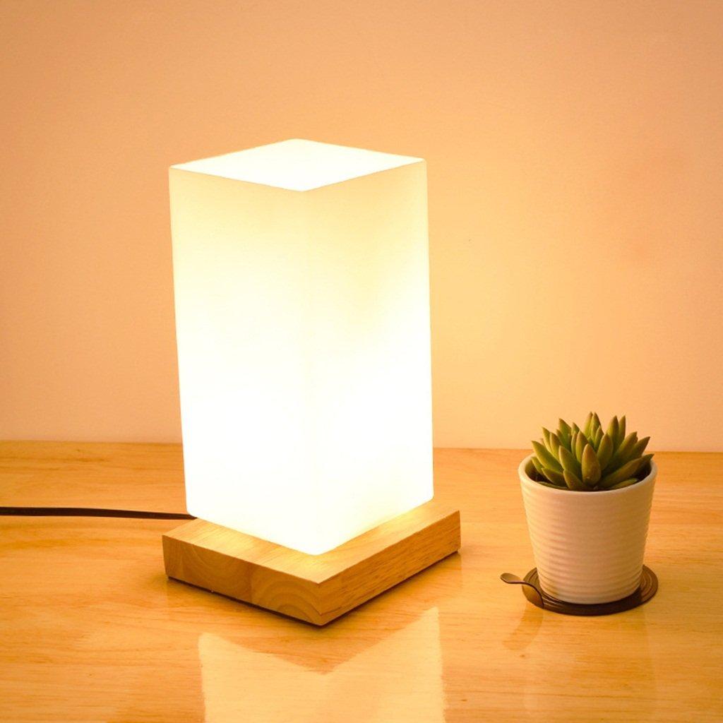 AJZGF Nordic creative lamp Schreibtisch Schlafzimmer Nachttisch Glasschirm E27 Holz Lampe Nachtlicht Table lamp