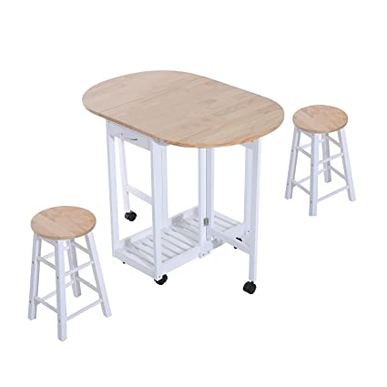 Surprising Homcom 3Pc Wooden Kitchen Cart Mobile Rolling Trolley Folding Bar Table Two Stools Dining Chair Storage Shelf W 2 Drawers 6 Wheels Machost Co Dining Chair Design Ideas Machostcouk