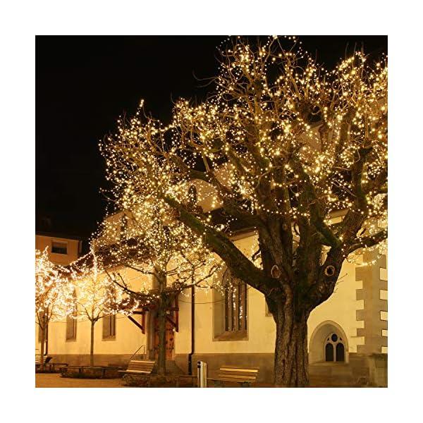ANSIO Luci natalizie Luci natalizie esterne 1000 LED 10 m bianco caldo interno Catena luminosa interna Funzione memoria albero di Natale, alimentazione elettrica Lunghezza illuminata 50 m - Cavo verde 4 spesavip