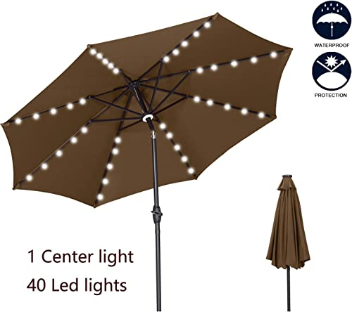 OVASTLKUY 10ft Solar LED Lighted Patio Umbrella, Outdoor Umbrella with Crank and Push Button Tilt for Backyard 8 Umbrella Bones 10ft, Coffee