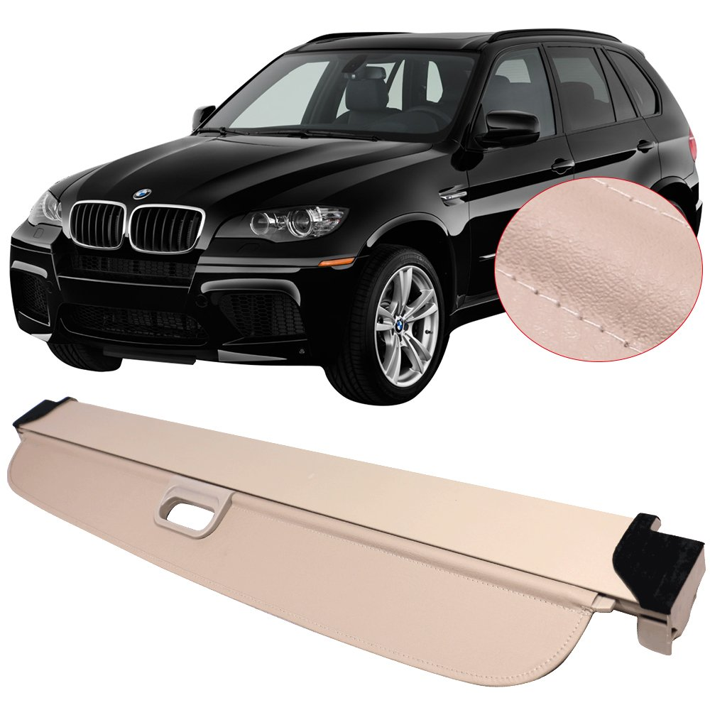 Cargo Cover Fits 2007-2013 BMW X5 | Grey PU Tonneau Cover Retractable By IKON MOTORSPORTS | 2008 2009 2010 2011 2012