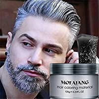 Temporary Silver Gray Hair Wax Pomade for People, Luxury Coloring Mud Grey  Hair Dye,Washable Treatment with All Day Hold. Non-Greasy Matte Hairstyle  ...