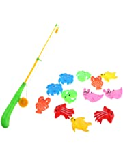 MagiDeal Magnetic Fishing Toy Set (13pcs - 12 Fishes and 1 Pole) for Kids Toddler Pretend Play