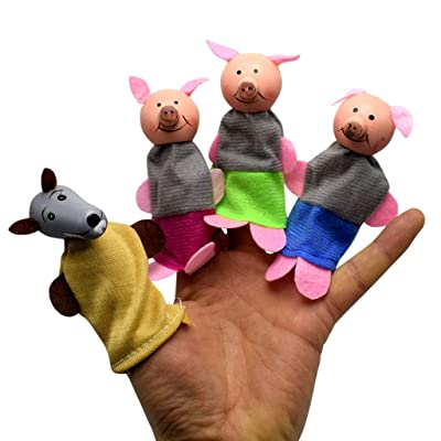 Fdrone 4Pcs Three Pigs and Wolf Finger Puppets Playset Children's Gift Hand Puppets Red: Clothing