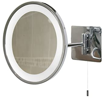 Oval Swing Arm Bathroom Mirror Light Polished Chrome