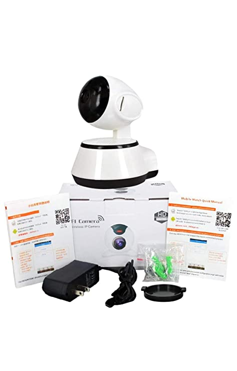 SODIAL V380 Phone APP HD 720P Mini Ip Camera WiFi Camera Wireless P2P  Security Camera Night Vision IR Robot Baby Monitor Support(SD Card Not  Included)